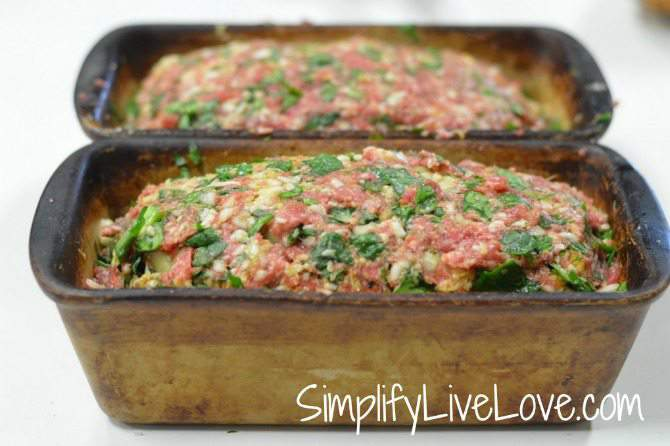 Spinach Mozzarella Meatloaf - form into loaves