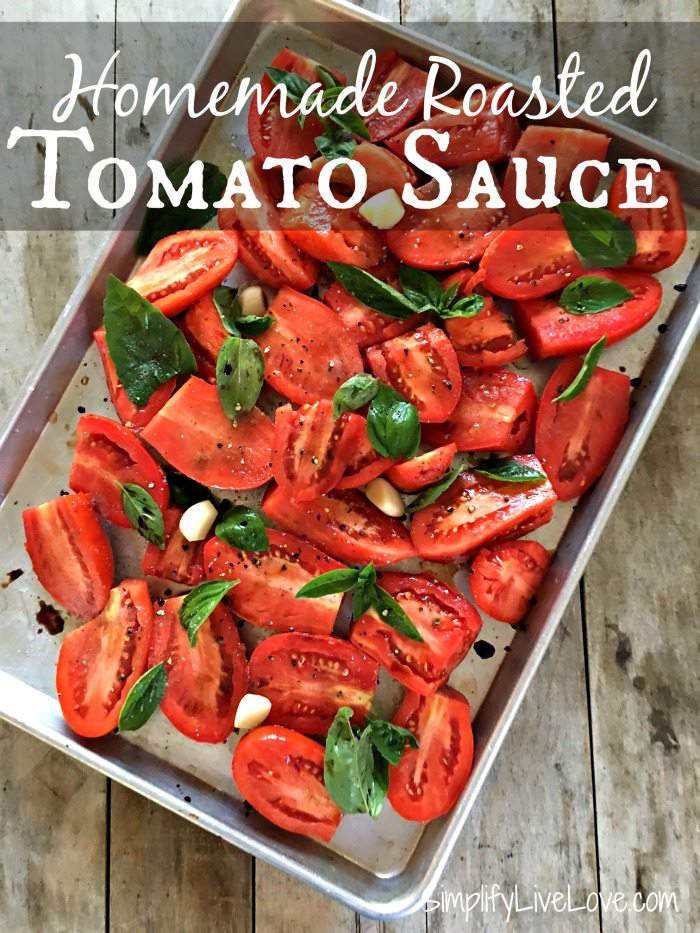 This easy homemade roasted tomato sauce is perfect on pasta and in soups. It only uses a few ingredients and is a pretty hands off way to make a fabulous tomato sauce.