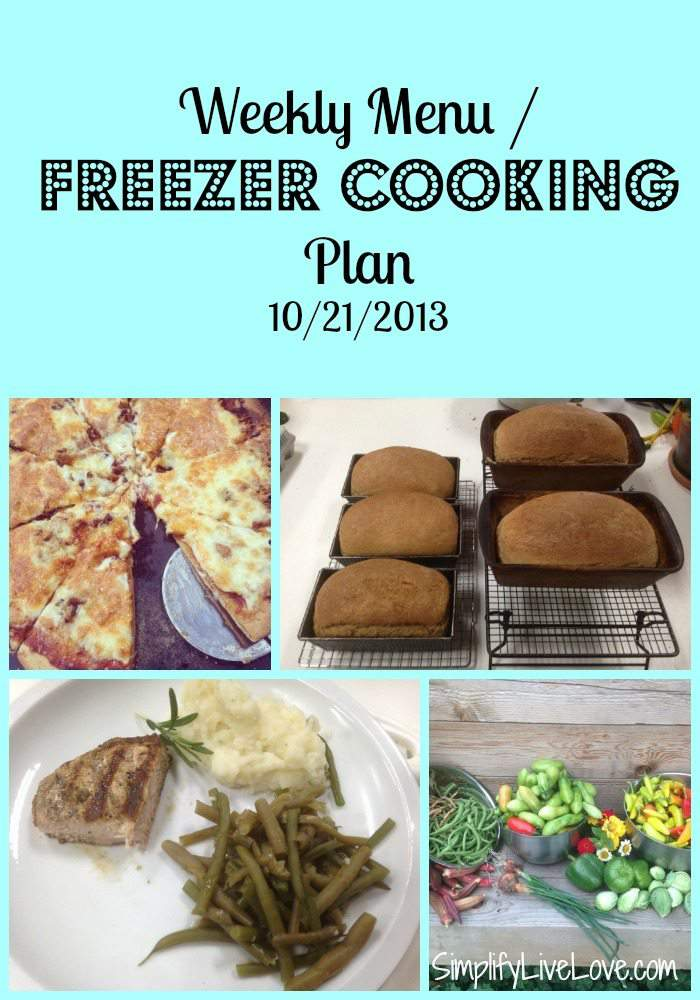weekly menu freezer cooking plan