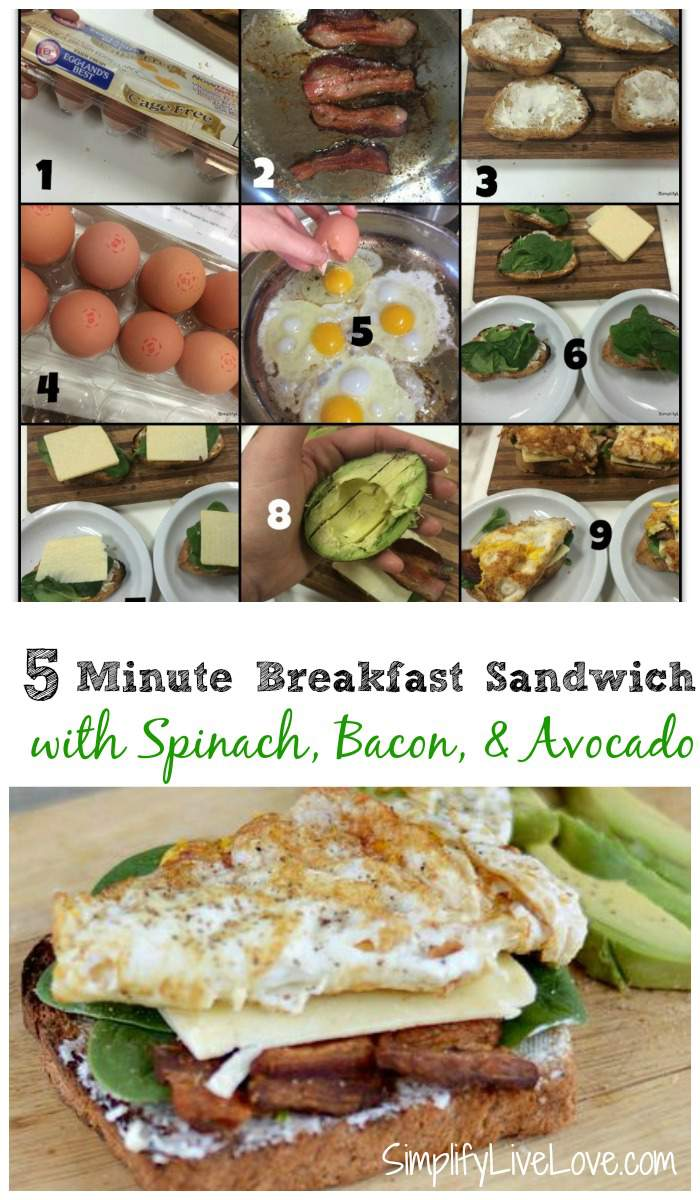 5 Minute Breakfast Sandwich. An quick and easy way to make a filling breakfast on busy mornings.
