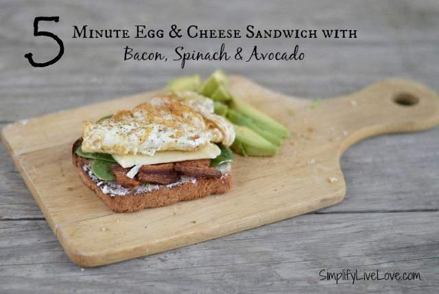 5 minute egg and cheese sandwich with bacon, spinach and avocado - in not too much longer than it takes to pour a bowl of cereal, make yourself a real breakfast instead!
