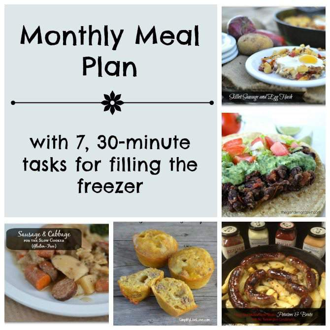 Feb Monthly Meal Plan with 7, 30-minute tasks for filling the freezer