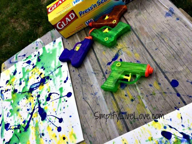 Squirt gun canvas art fun summer activity simplify live love for Canvas painting projects for kids