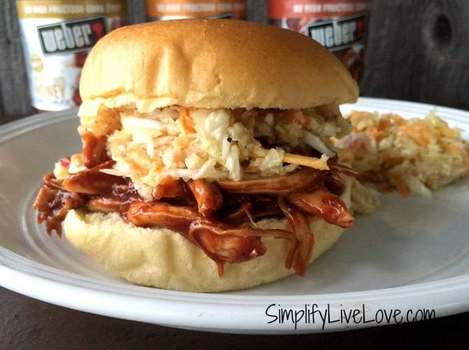 BBQ Pulled Chicken Sandwich with Cole Slaw Recipe #WeberBBQSauces #ad