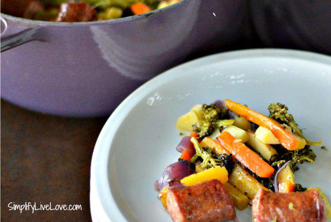 Farm to Table Roasted Vegetables w Fresh Herbs & Kielbasa - quick and delicious one pot meal your family will love. {from SimplifyLiveLove.com}