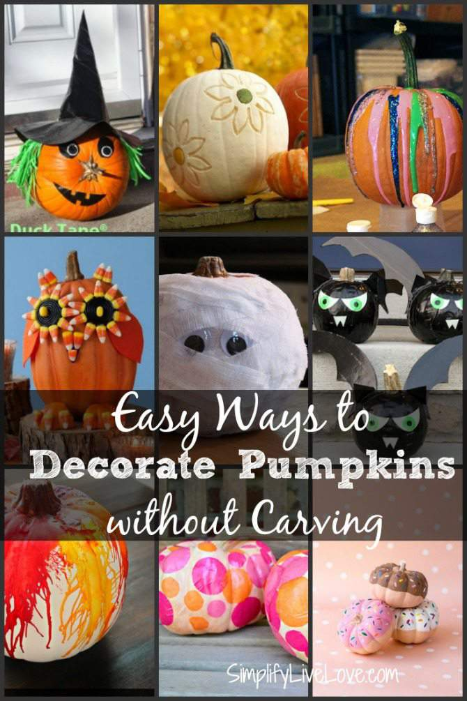 easy ways to decorate pumpkins without carving