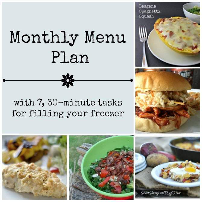 Monthly Menu Plan - real food cooking, featuring slow cooker and freezer friendly recipes plus 7, 30 minute tasks for filling your freezer. From SimplifyLiveLove.com
