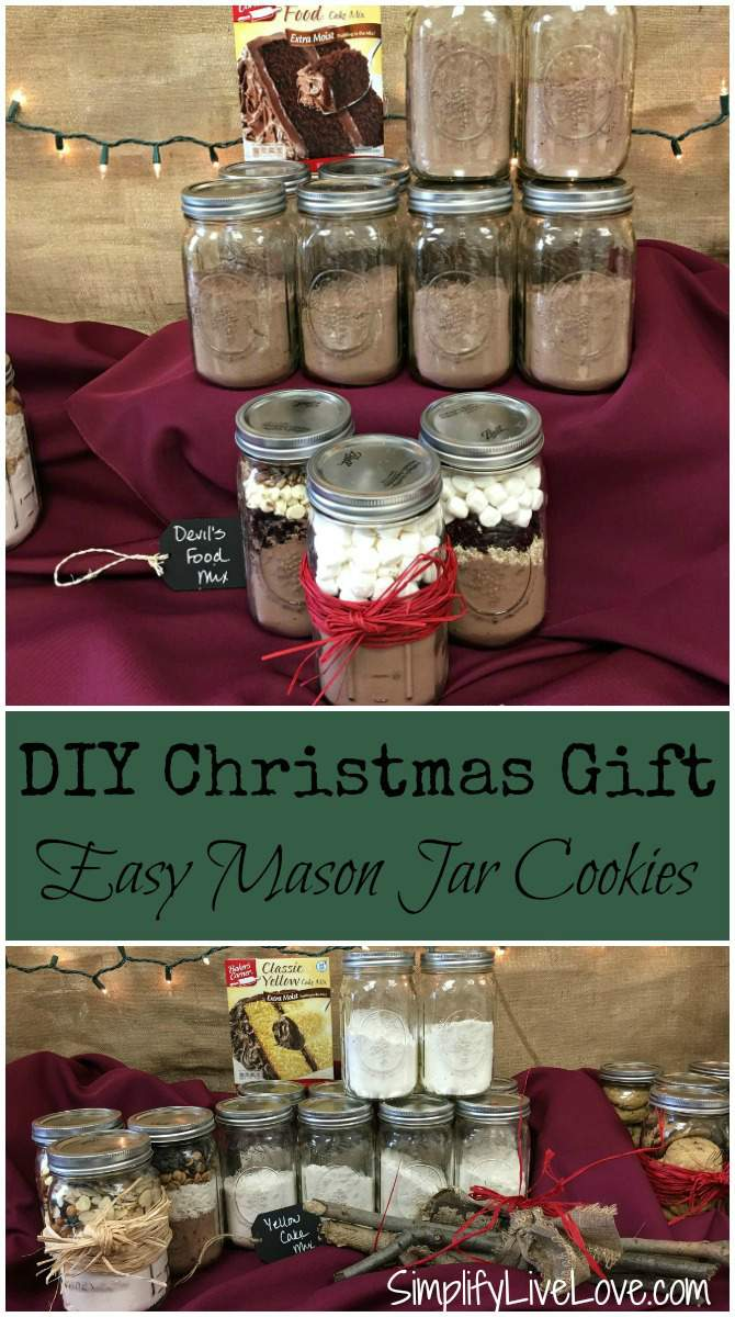 DIY Christmas Gift - Easy Mason Jar Cookies pinterest from SimplifyLiveLove.com