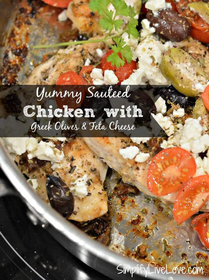 Yummy Sauteed Chicken with Greek Olives & Feta Cheese #MezzettaMemories from SimplifyLiveLove.com #ad