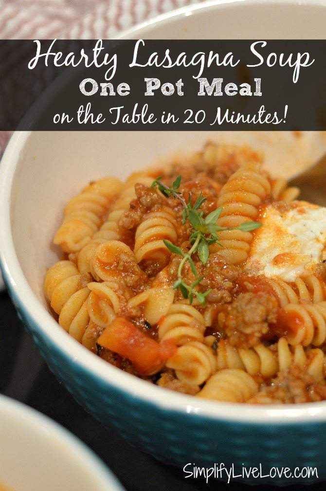 Hearty Lasagna Soup. A delicious one pot meal that's on the table in 20 minutes. from SimplifyLiveLove.com
