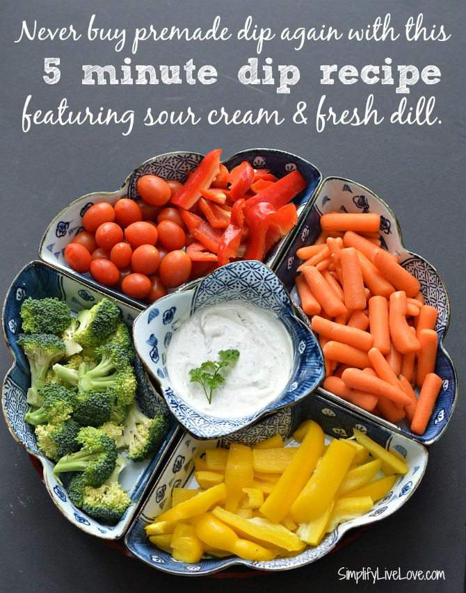 Never buy premade dip again with this 5 minute dip recipe featuring sour cream & fresh dill.
