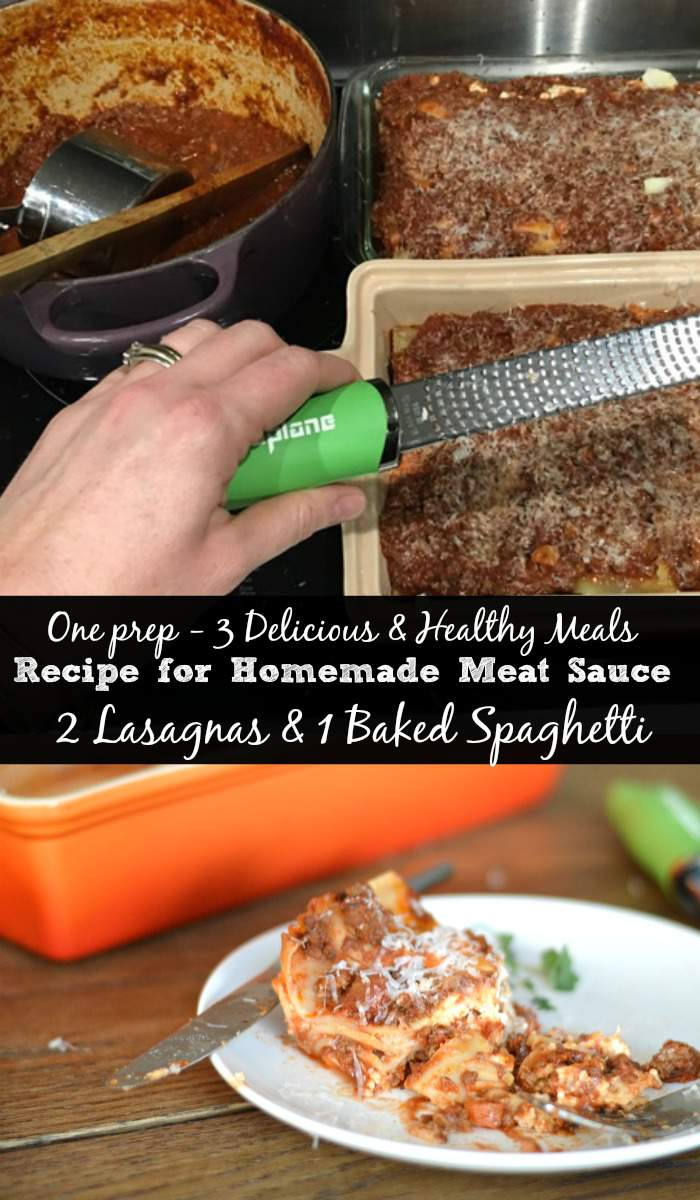 One prep - 3 Delicious & Healthy Meals Recipe for Homemade Meat Sauce 2 Lasagnas & 1 Baked Spaghetti