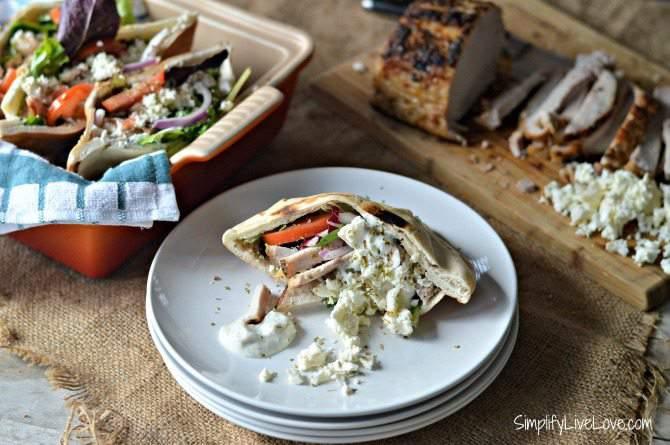 Greek Pork Loin Pita Sandwich