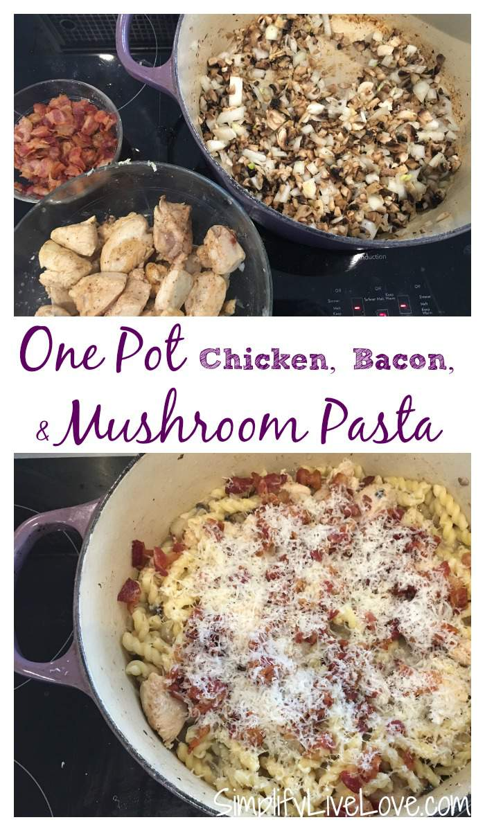 One pot chicken, bacon, & mushroom pasta. Easy prep and clean up, on the table in 30 minutes.