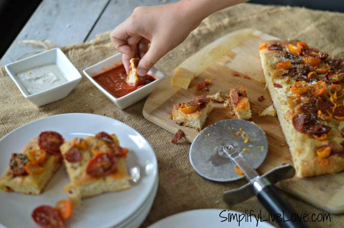 red & gold focaccia pizza dippers