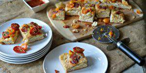 Red & Gold Focaccia Pizza Appetizer or Entree!