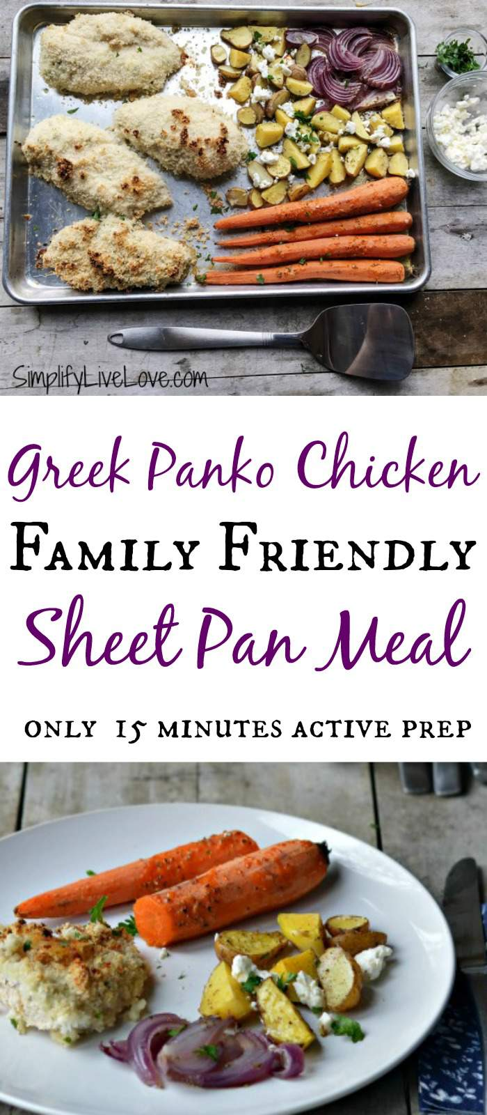 Greek Panko Chicken Sheet Pan dinner has only 15 min active prep! Easy prep, fast clean up, and quick cooking time make it a winner!