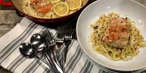 Creamy Lemon Caper Salmon Pasta