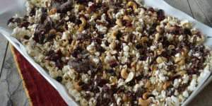 Trail Mix Popcorn with Dried Berries, Nuts, & Chocolate