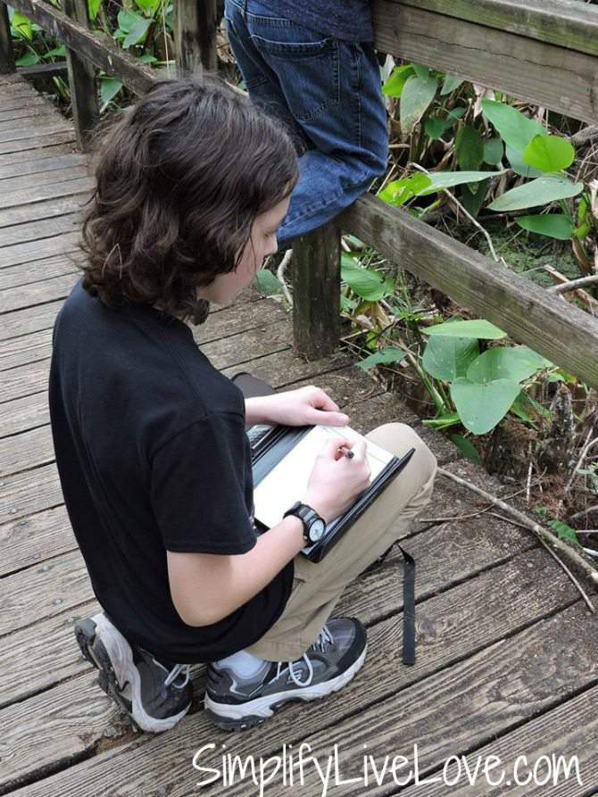 Liam, the author of this post, is making field notes about snakes!