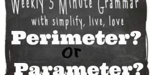 5 Minute Grammar Lesson – Perimeter or Parameter?