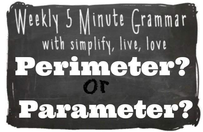 Perimeter or Parameter 5 Minute Grammar Lesson
