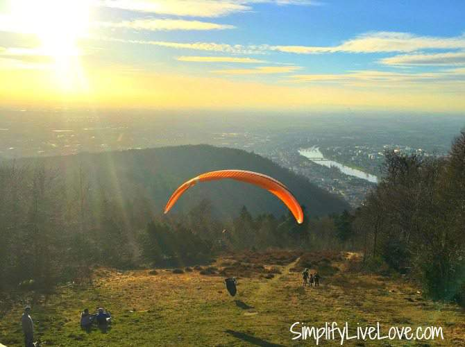 Paragliders from the Konigstuhl in Heidleberg Germany