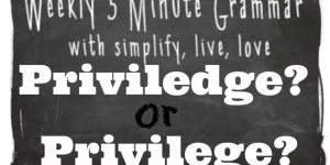 5 Minute Grammar Lesson – Priviledge or Privilege
