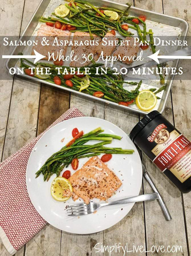 salmon asparagus sheet pan dinner on the table in 20 minutes. Whole 30 Approved