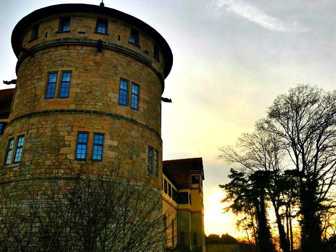 sunset at the tubingen castle