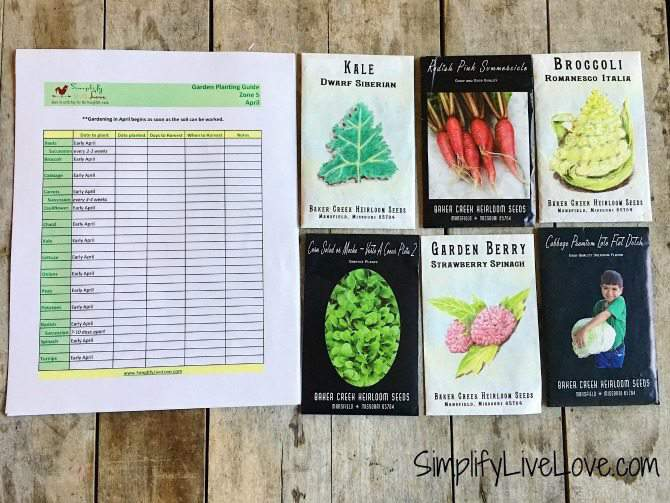 Let's Garden! Printable Garden Planting Guide Zone 5