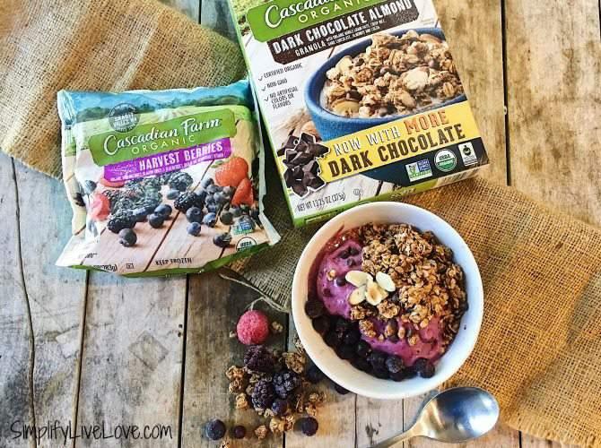 Triple Berry Nice Cream made with Cascadian Farm Organic berries & granola