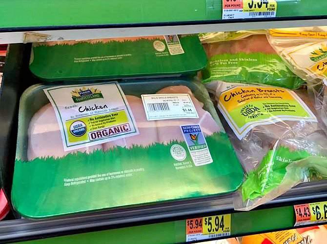 organic chicken at Walmart