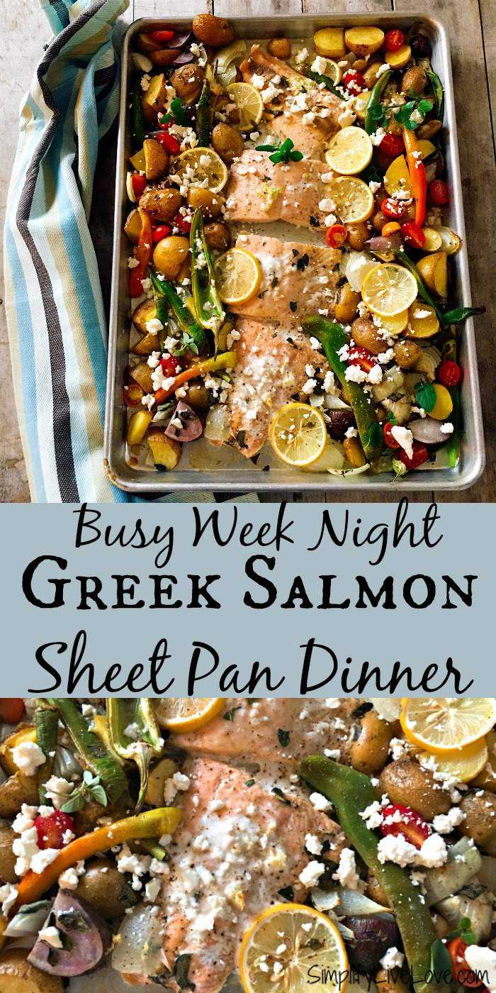 Delicious Greek salmon sheet pan dinner is a fabulous way to incorporate more heart healthy salmon into your diet! It's also an impressive looking dinner that your family will love!