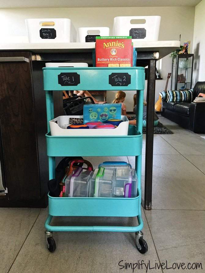 Set up a lunch packing station to save money on school lunches