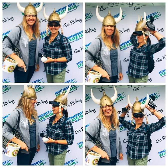 Take a selfie in a viking hat at the Go RVing booth with a good friend