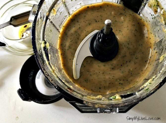 combine all ingredients for the roasted garlic salad dressing in the Ninja and pulse until smooth and creamy.