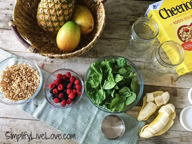 ingredients for kid friendly green smoothies for the freezer