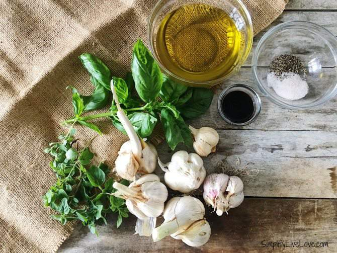 ingredients for roasted garlic salad dressing