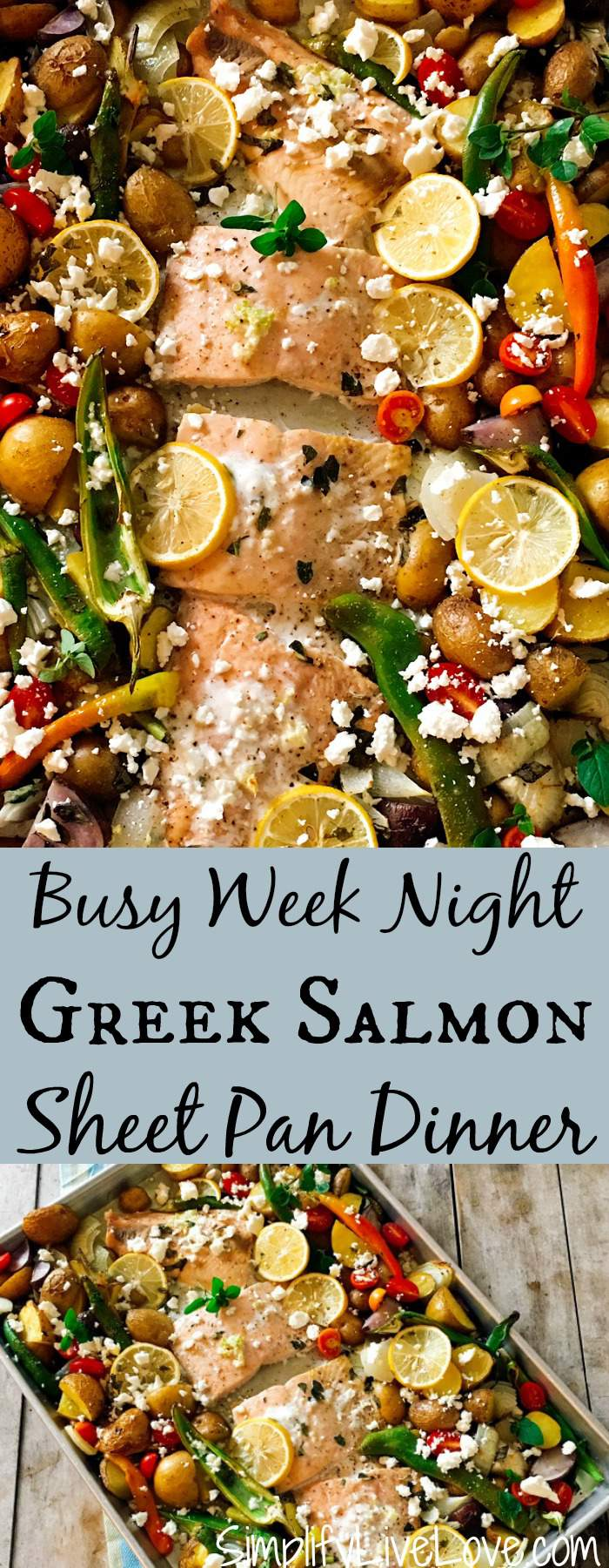 This Greek salmon sheet pan dinner recipe cooks on only one pan for quick clean up! Prep is pretty easy and the dish is so delicious! Try it tonight!