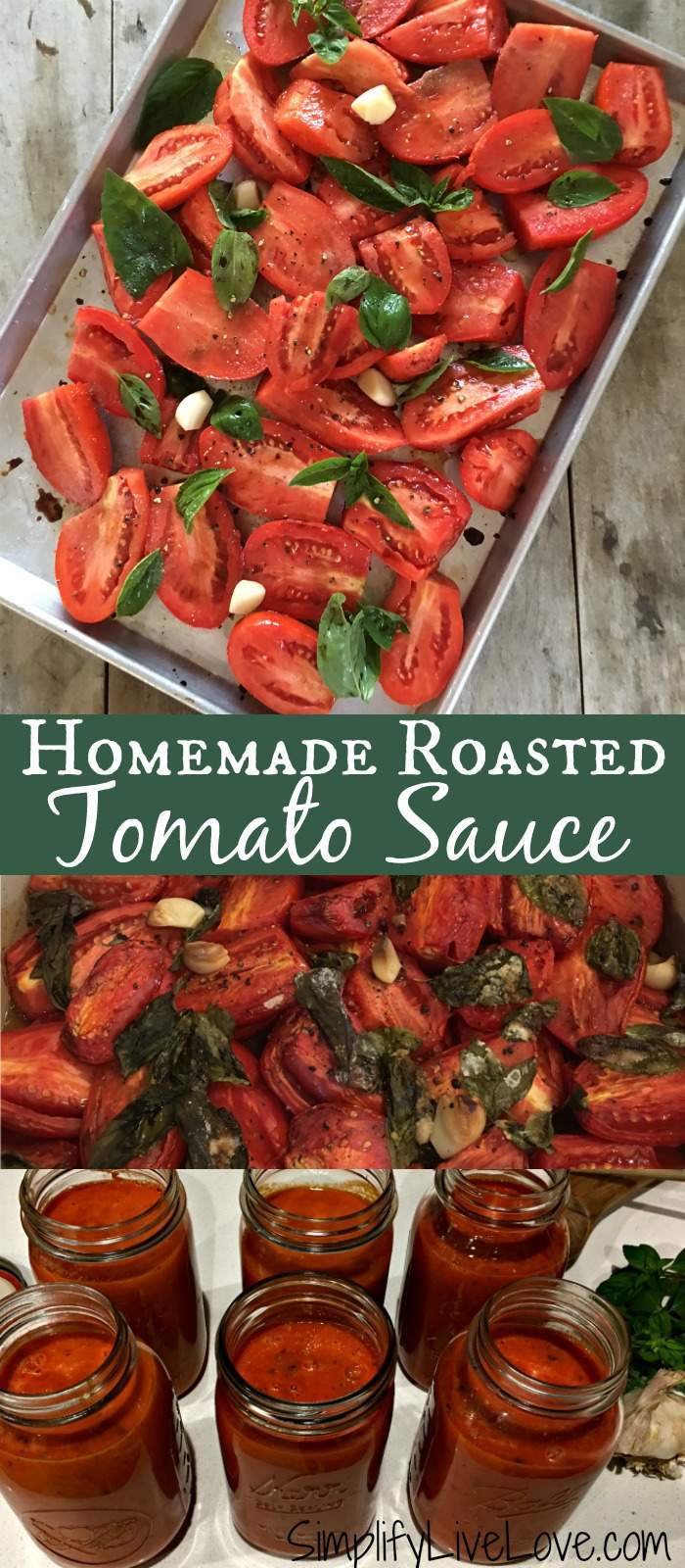 This easy homemade roasted tomato sauce is a perfect recipe. It's a great way to use up extra tomatoes you may have and is delicious on pasta and in soups!