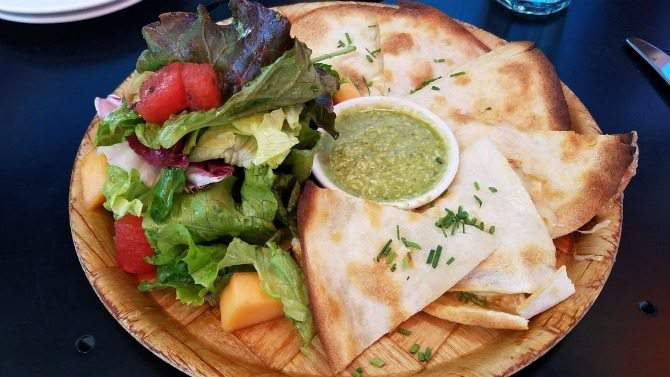 quesadilla at spoonriver restaurant in minneaplis