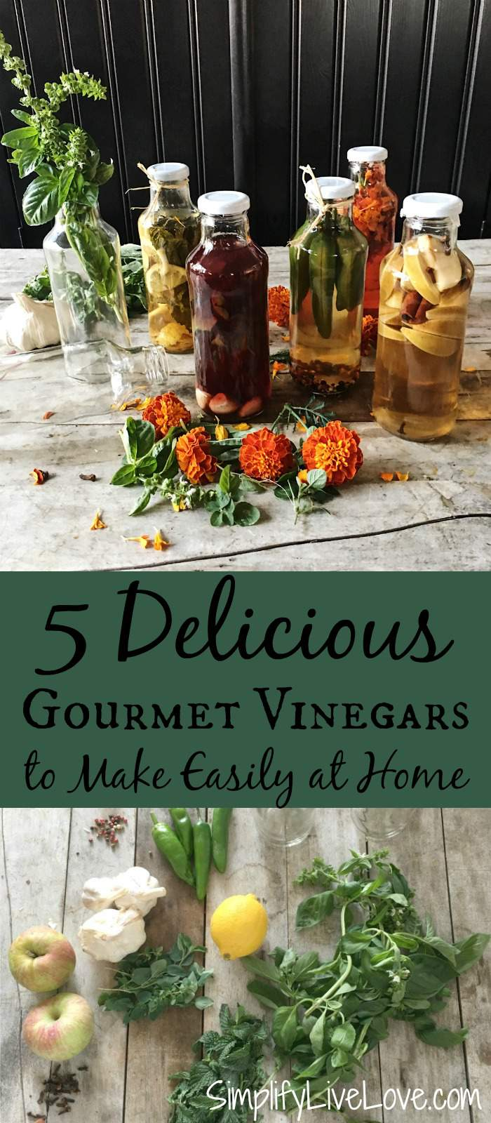 These 5 homemade gourmet vinegar flavors make the perfect edible gifts. They are beautiful and easy, perfect for marinades, salad dressings, & more!